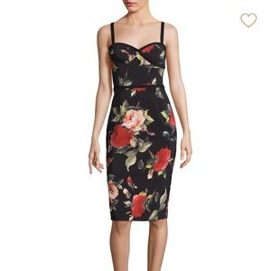Black Halo Floral Sheath Dress